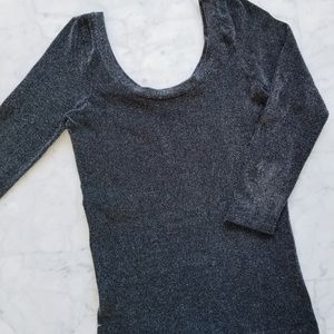 Vintage Cache • Metallic Sparkly Scoop Neck